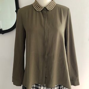 Cynthia Steffens Olive Green Blouse w/ Gold rivets